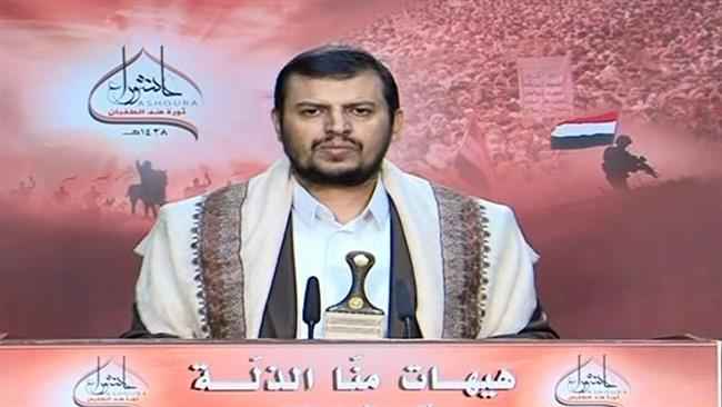Abdul-Malik al-Houthi, the leader of Yemen's Houthi Ansarullah movement, makes a televised speech on October 12, 2016.