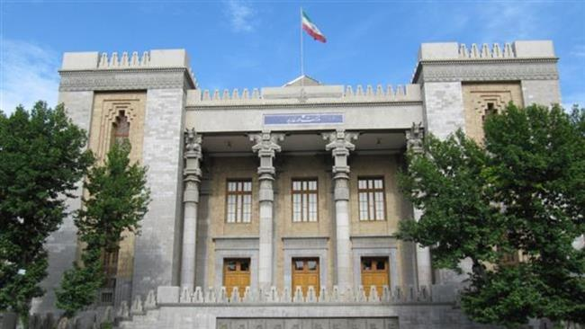 A front view of the building of Iran's Foreign Ministry