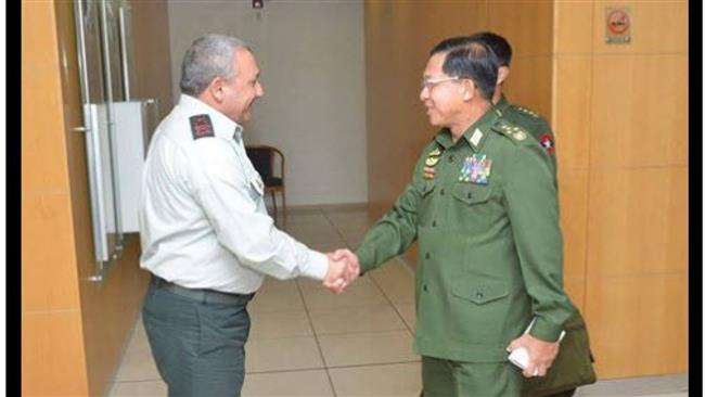 The undated photo shows General Min Aung Hlaing (R), one of the heads of Myanmar