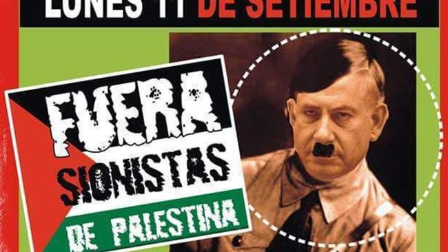 Pro-Palestinian and left-wing demonstrators in Argentina carried images depicting Netanyahu as Hitler