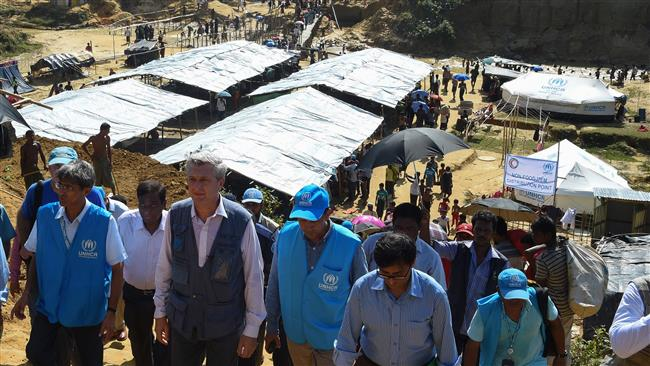 UN High Commissioner for Refugees Filippo Grandi (2nd L) visits Bangladesh