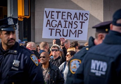 Anti-Trump Protest Held at New York's Veterans Day Parade