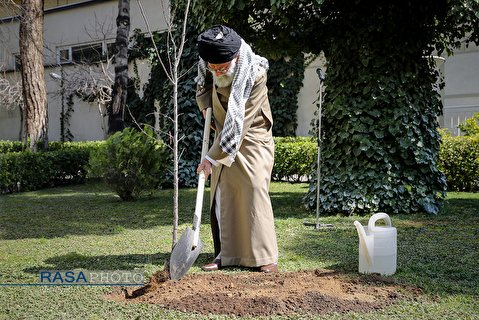 In Arbor Day in Iran; Ayatollah Khameneim, the Supreme Leader plant a tree