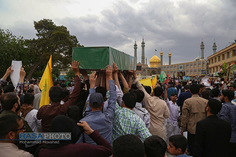 Funeral procession in holy shrine of Lady Masumeh in Qom for two Holy Shrine Defenders who martyred in Syria
