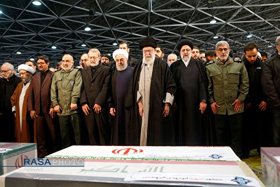 Imam Khamenei expressing sorrow while performing the funeral prayer for Martyr Soleimani